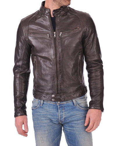 Men's Genuine Lambskin Leather Chocolate Brown Bomber Slim Fit Biker Leather Jacket - theleathersouq