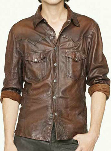 New Men's Genuine Lambskin Leather Soft Vintage Slim Fit Shirt - theleathersouq