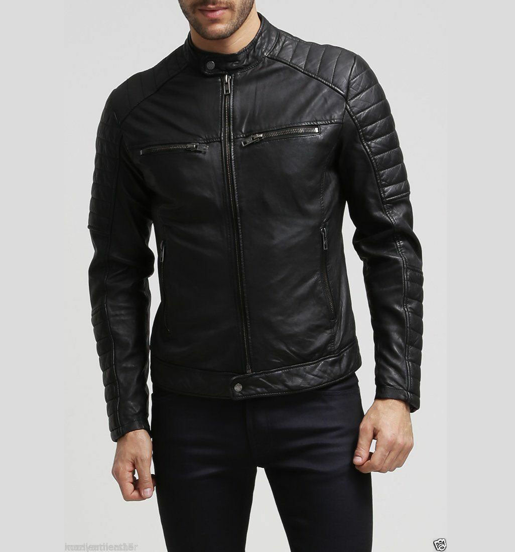 New Men's Stylish Slim Fit Black Genuine Lambskin Real Leather Biker Jacket - theleathersouq