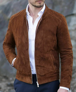 Men's Fashion brown Suede biker Jacket, Casual Suede Jacket For Men - theleathersouq