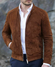 Load image into Gallery viewer, Men's Fashion brown Suede biker Jacket, Casual Suede Jacket For Men - theleathersouq