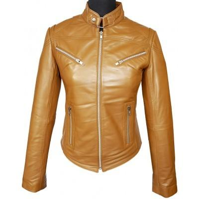 Stylish Women Tan Brown Collar Style Leather Jacket, Women's Fashion Leather Jacket, ladies leather jacket