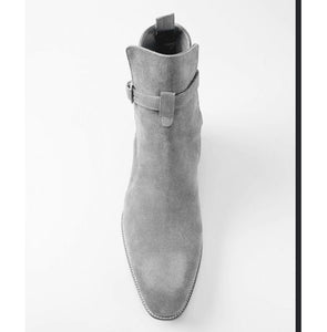 Stylish Handmade Jodhpurs Ankle Boots, Men's Gray Ankle High Suede Leather Boots - theleathersouq