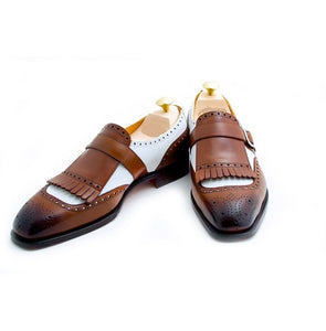 Stylish Handmade Men's Two Tone Brown & White Monk Fringed Formal Dress Shoes - theleathersouq