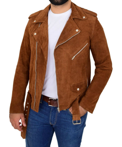 Stylish Men's Brando Style Suede Leather Jacket, Men Celebrity Tan Suede Jacket - theleathersouq