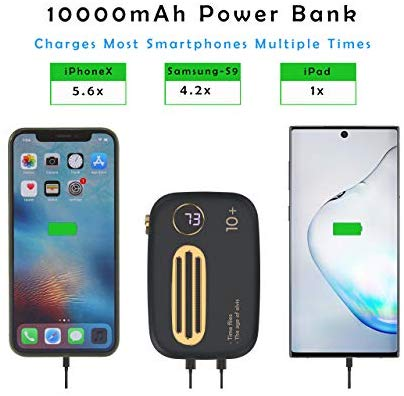 10000mAh Power Bank-Dual USB in-Out Max 4.5A- Natogears Mini Retro Portable Charger - Troogears