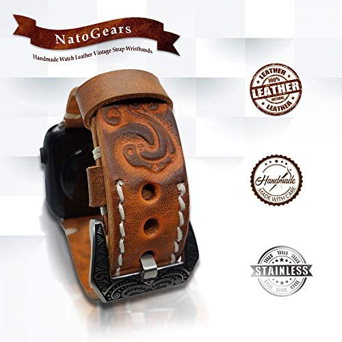 Unisex Handmade Watch Leather Vintage Strap Wristbands, Tooled Leather Band Strap For Apple iWatch 5, 4, 3, 2, 1, - Troogears