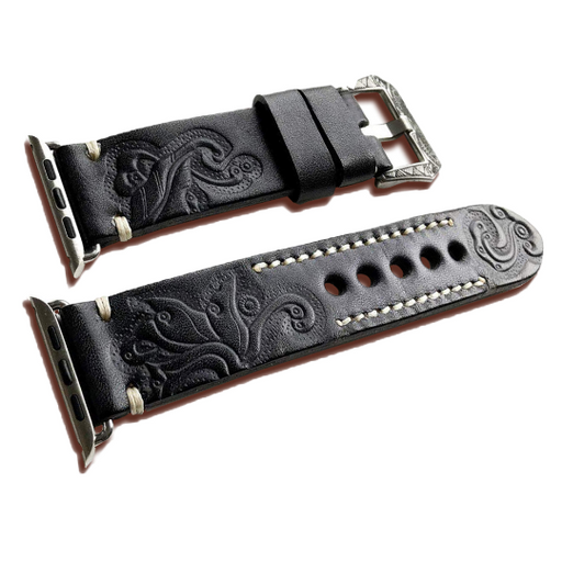 CARVED LEATHER BAND/STRAP FOR APPLE iWatch Series 5, 4, 3, 2, 1 - Troogears