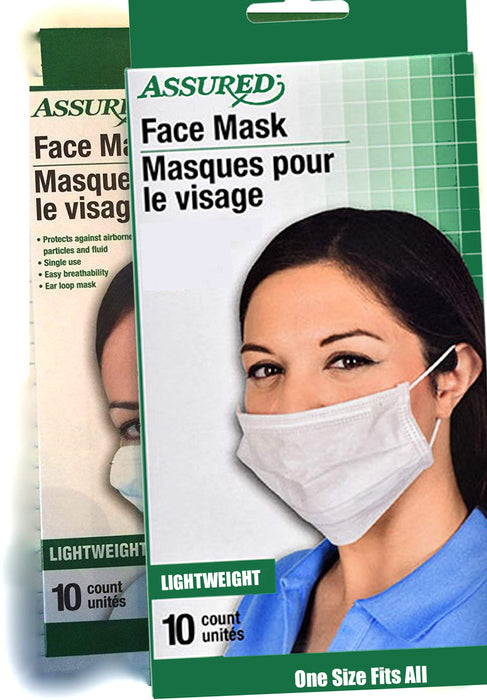 Assured Face Mask Protector Against Airborne Particles and Flu - 2 Boxes of 10 (20 Masks Total) - Troogears
