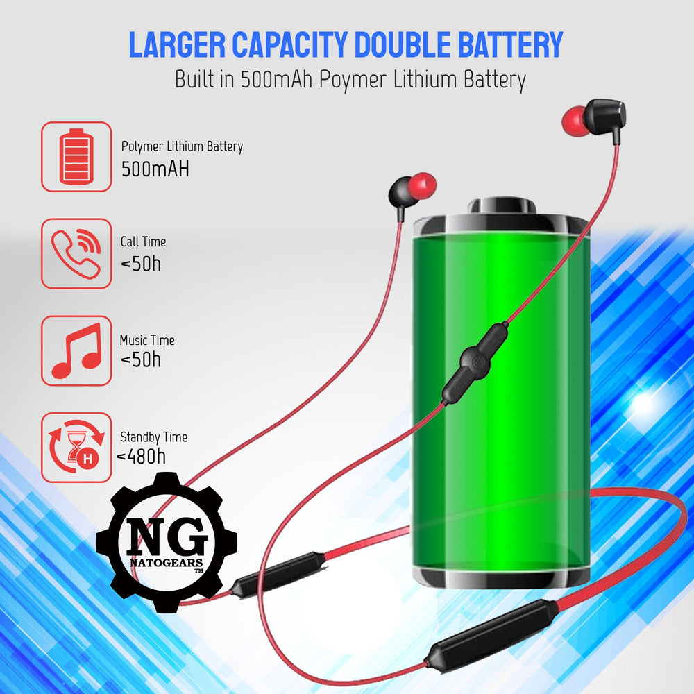 Neckband Bluetooth Earphones-NatoGears Xtreme 48 Hours Playtime Bluetooth Earphone - Troogears