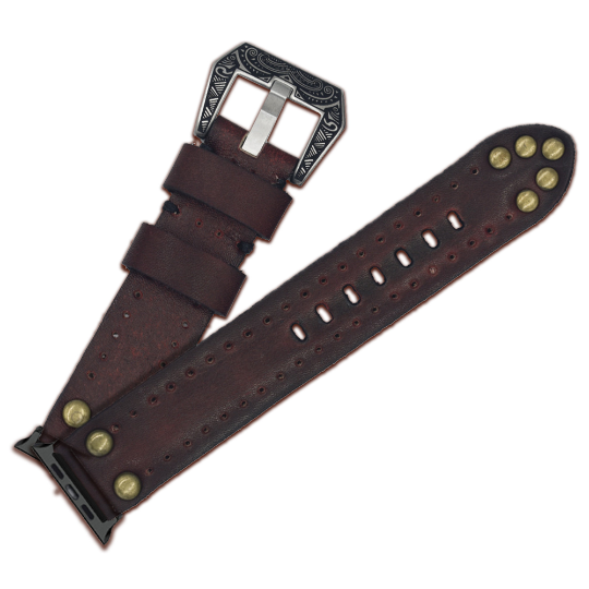 Handmade Leather Watch Band Watch Strap Crazy Cow Studded Apple Watch Band - Troogears