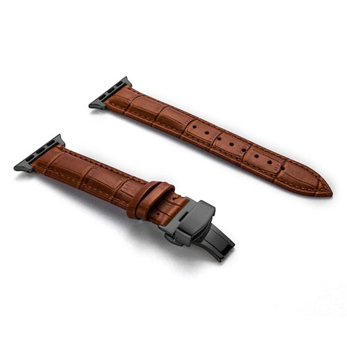 Leather Strap For Apple Watch Band 4 44mm 40mm With Butterfly Buckles - Troogears