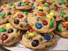 colorful m&m chocolate chip cookies