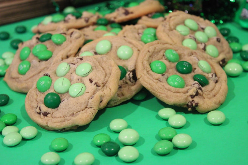 St. Patrick's Day mint m&m chocolate chip cookies