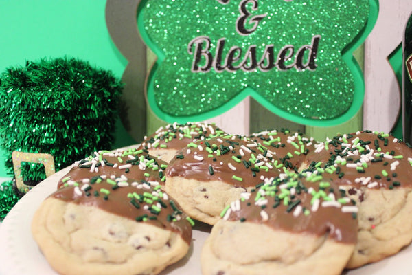 "Angie's St. Patrick's Day Chocolate Dipped Chocolate Chip Cookies ""Dippers"""