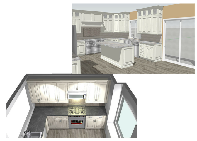 TWO Alternative 3D Kitchen Design Renderings & Blueprints (53% OFF)