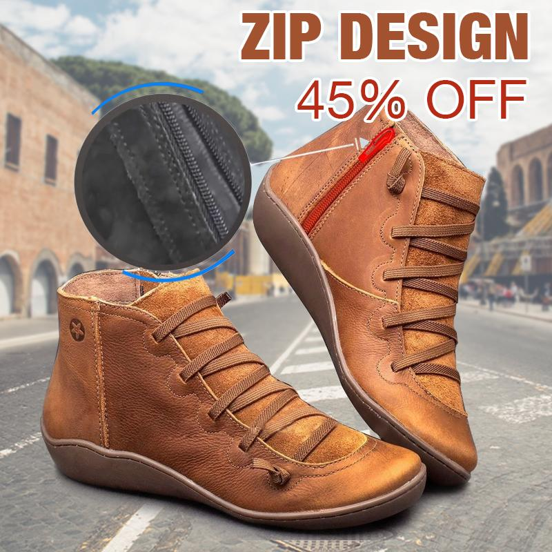 2019 Women's Leather Flat Heel Zip Boots