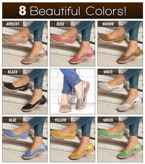 Women's Breathable Round Toe Hollow out Flat Sandals
