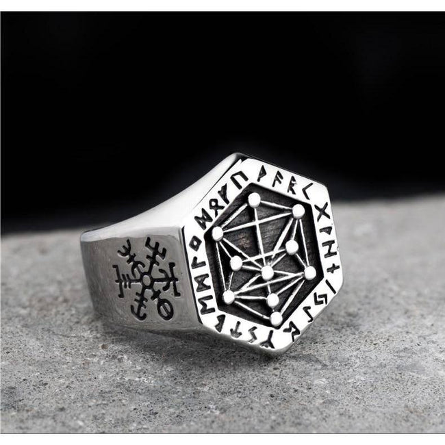 veg-visir, , 316L STAINLESS STEEL KABALA TOTEM WITH RUNES RING, Jewels, Jewelry, Vikings, Norse - Veg-Visir
