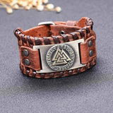 veg-visir, , LEATHER BUCKLE BRACELET WITH KNOTS AND METAL PLATE - VALKNUT, Jewels, Jewelry, Vikings, Norse - Veg-Visir