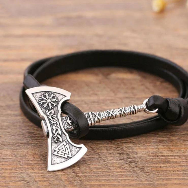 Veg-Visir, , VIKING HATCHET LEATHER BRACELET, Jewels, Jewelry, Vikings, Norse - Veg-Visir