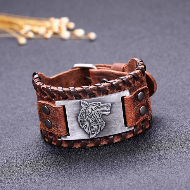 veg-visir, , LEATHER BUCKLE BRACELET WITH KNOTS AND METAL PLATE - WOLF, Jewels, Jewelry, Vikings, Norse - Veg-Visir