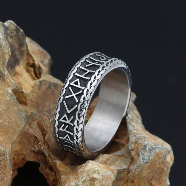 Veg-Visir, , 316L STAINLESS STEEL RUNES WITH KNOTS RING, Jewels, Jewelry, Vikings, Norse - Veg-Visir