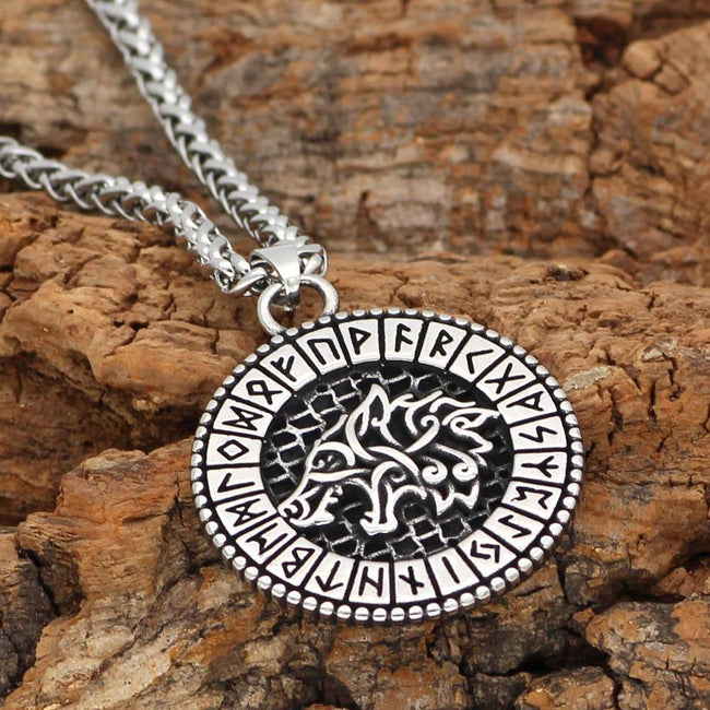 Veg-Visir, , WOLF WITH RUNIC CIRCLE NECKLACE, Jewels, Jewelry, Vikings, Norse - Veg-Visir