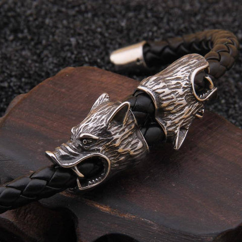 Veg-Visir, , LEATHER BRACELET WITH WOLF, Jewels, Jewelry, Vikings, Norse - Veg-Visir