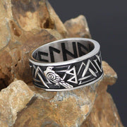 ODIN'S RAVEN RING WITH VALKNUT