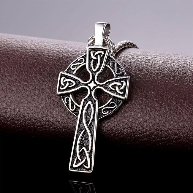 Veg-Visir, , 316L STAINLESS STEEL VIKING CROSS WITH CELTIC KNOTS NECKLACE, Jewels, Jewelry, Vikings, Norse - Veg-Visir