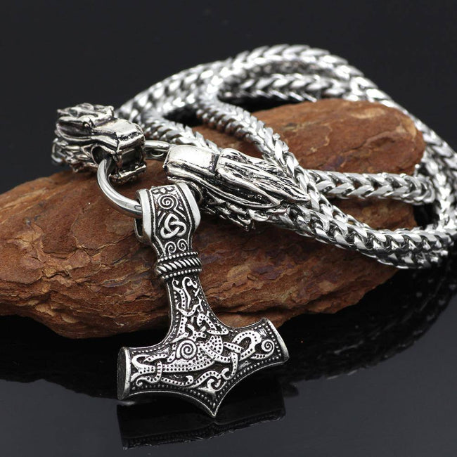 Veg-Visir, , MJOLNIR WITH DOUBLE WOLF HEAD CHAIN NECKLACE, Jewels, Jewelry, Vikings, Norse - Veg-Visir