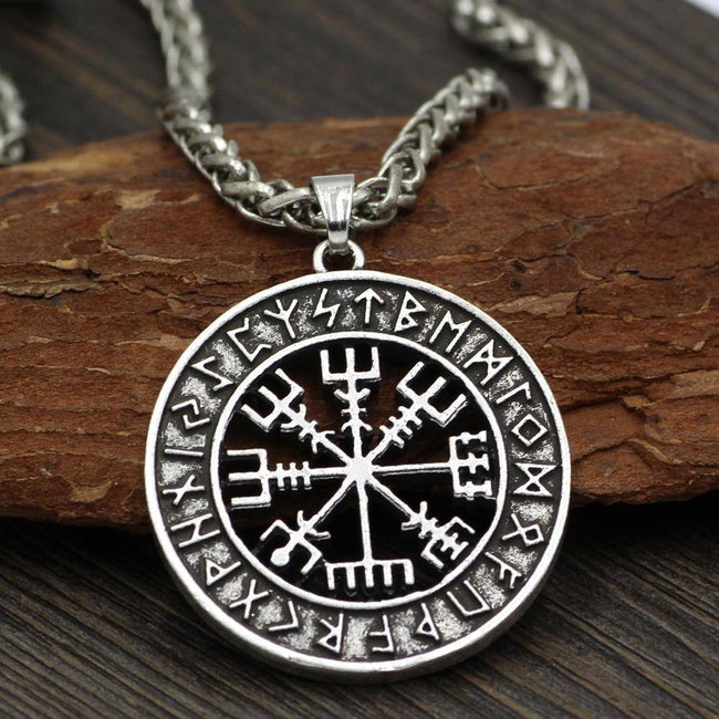 VEGVISIR WITH RUNIC CIRCLE NECKLACE Silver | Metal Veg-Visir  veg-visir.myshopify.com Veg-Visir