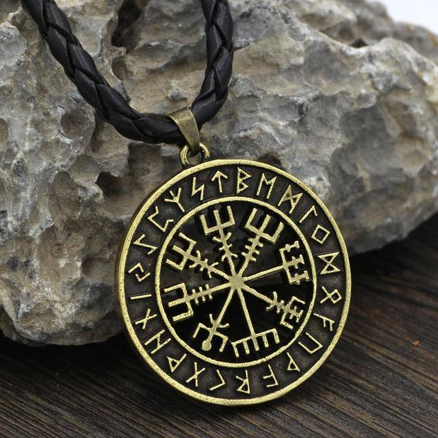 VEGVISIR WITH RUNIC CIRCLE NECKLACE Gold | Leather Veg-Visir  veg-visir.myshopify.com Veg-Visir