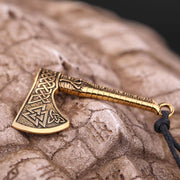 Veg-Visir, , AESIR VIKING AXE WITH RUNES NECKLACE, Jewels, Jewelry, Vikings, Norse - Veg-Visir