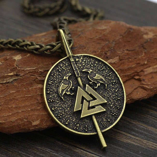 Veg-Visir, , GUNGNIR WITH RAVENS AND VALKNUT NECKLACE, Jewels, Jewelry, Vikings, Norse - Veg-Visir