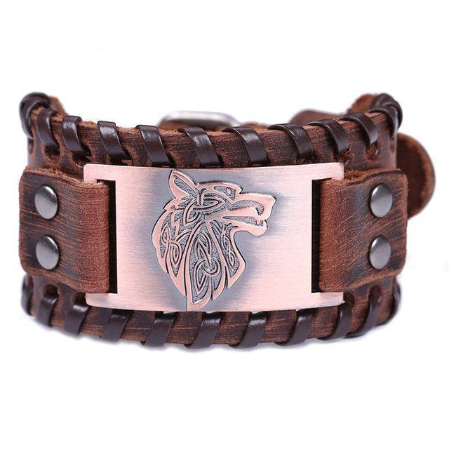 LEATHER BUCKLE BRACELET WITH KNOTS AND METAL PLATE - WOLF - Veg-Visir