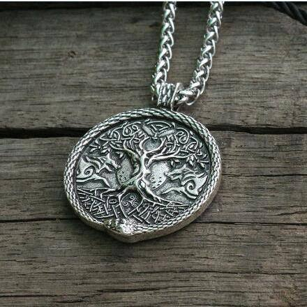 veg-visir, , TREE OF LIFE AND OUROBOROS NECKLACE, Jewels, Jewelry, Vikings, Norse - Veg-Visir