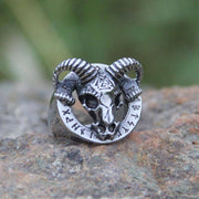 veg-visir, , 316L STAINLESS STEEL RAM HEAD WITH RUNES RING, Jewels, Jewelry, Vikings, Norse - Veg-Visir