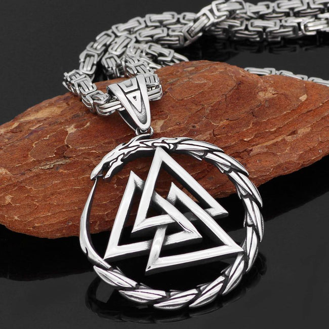 316L STAINLESS STEEL DRAGON WITH VALKNUT NECKLACE  Veg-Visir  veg-visir.myshopify.com Veg-Visir