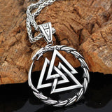 316L STAINLESS STEEL DRAGON WITH VALKNUT NECKLACE Small Chain Veg-Visir  veg-visir.myshopify.com Veg-Visir