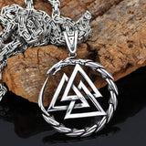 316L STAINLESS STEEL DRAGON WITH VALKNUT NECKLACE Big Chain Veg-Visir  veg-visir.myshopify.com Veg-Visir