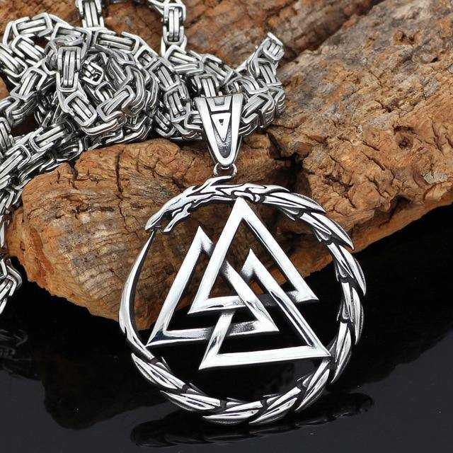 Veg-Visir, , 316L STAINLESS STEEL DRAGON WITH VALKNUT NECKLACE, Jewels, Jewelry, Vikings, Norse - Veg-Visir