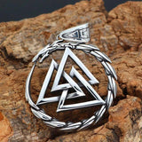 316L STAINLESS STEEL DRAGON WITH VALKNUT NECKLACE Only Pendant Veg-Visir  veg-visir.myshopify.com Veg-Visir