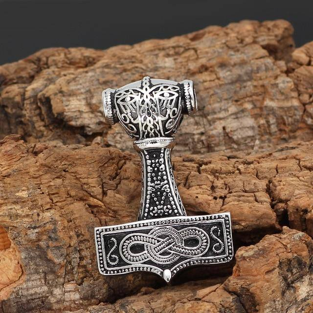 MJOLNIR WITH ROPE EMBOSSING NECKLACE Pendant only Veg-Visir  veg-visir.myshopify.com Veg-Visir