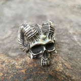 Veg-Visir, , SKULL WITH HORNS RING, Jewels, Jewelry, Vikings, Norse - Veg-Visir