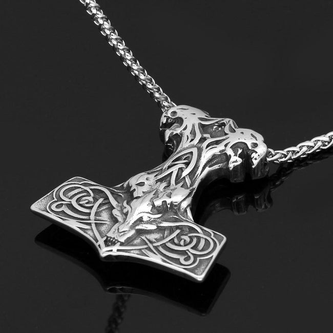 Veg-Visir, , MJOLNIR WITH CELTIC KNOT NECKLACE, Jewels, Jewelry, Vikings, Norse - Veg-Visir