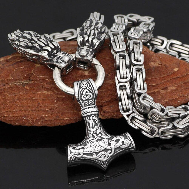 Veg-Visir, , MJOLNIR WITH DRAGON CHAIN NECKLACE, Jewels, Jewelry, Vikings, Norse - Veg-Visir