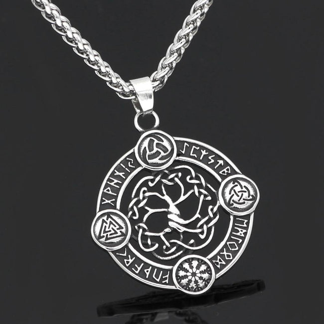 316L STAINLESS STEEL TREE OF LIFE WITH MULTIPLE RUNES NECKLACE  Veg-Visir  veg-visir.myshopify.com Veg-Visir