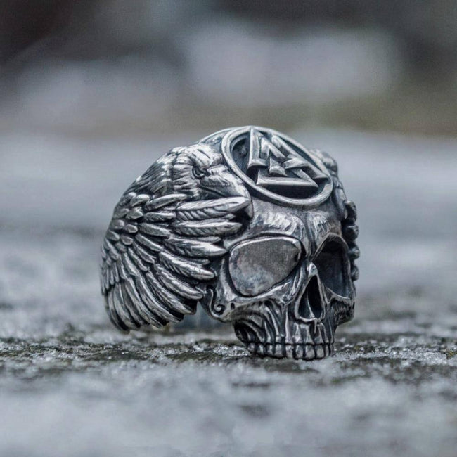 Veg-Visir, , SKULL WITH VALKNUT RING, Jewels, Jewelry, Vikings, Norse - Veg-Visir